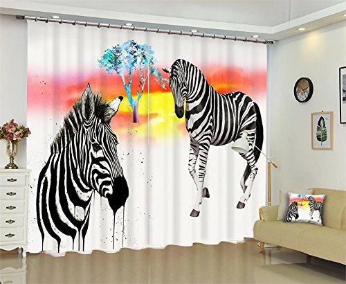 Polyester drapieren Blackout feste thermische 3D Vorhänge, Tier Zebra Print Fenster Vorhänge, Schlafzimmer Wohnzimmer Dekoration, weiß , wide 2.20x high 1.80 (Zebra Thermische Vorhänge)