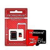 H&T Micro SD-Speicherkarten, TF-Karte der Klasse 10, UHS-I-Karte mit Mikroschalter und Adapter für Smartwatch/Telefon/Tablet/Go Pro/Kamera/Computer,64gb