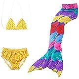 Das beste Mädchen Meerjungfrauen Bikini Kostüm Meerjungfrau Schwimmanzug Badeanzüge Tankini (130, Farbige Feder)