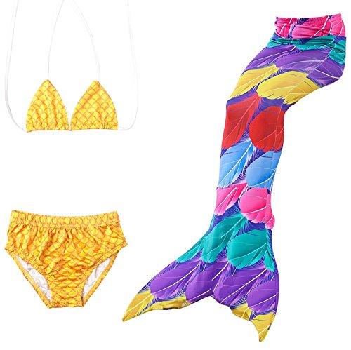 (Das beste Mädchen Meerjungfrauen Bikini Kostüm Meerjungfrau Schwimmanzug Badeanzüge Tankini (120, Farbige Feder))