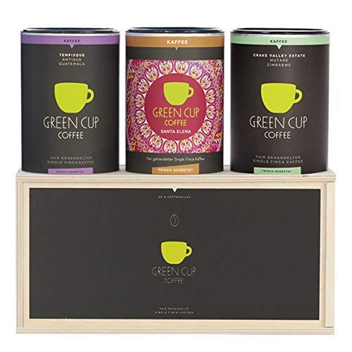 Green Cup Coffee Kaffee - Holzbox Kaffee sortenreine, fair gehandelte Arabica Kaffeebohnen - Kaffee Bohnen aus Costa Rica, Guatemala & Zimbabwe(3x 227g ganze Bohne)