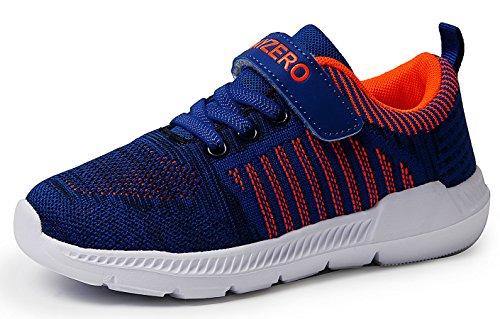 JSLEAP Kinder Tennisschuhe Jungen Mädchen Sneakers Leichte Low-Top Laufschuhe für Kleinkind/Little Kid/Big Kid, Blau & Orange, 30 EU