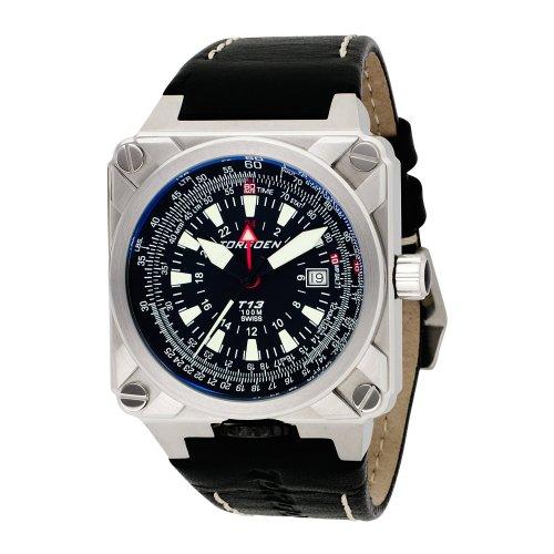 TORGOEN Swiss T13104 - Reloj de pulsera hombre, piel, color Negro