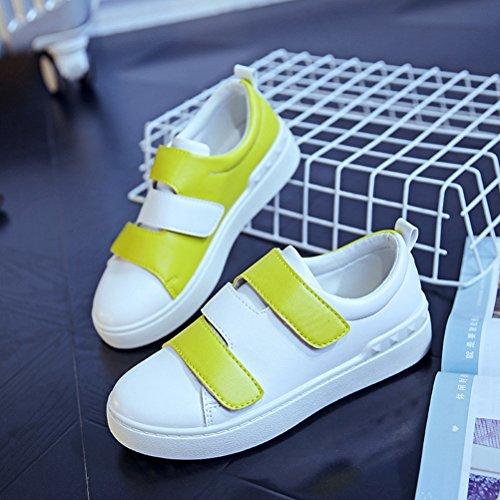 Damen Zweifarbig Klettband Einfach Leichtgewicht Flach Sportlich Lässig Sneakers Gelb