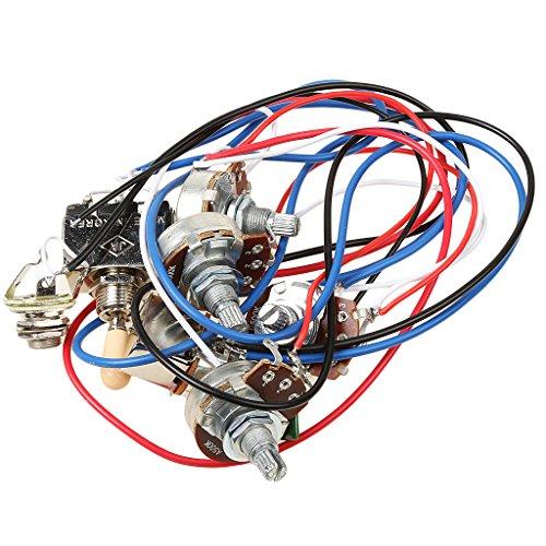 Durable Circuit Verkabelung Kit vorverdrahtet 2V2t1j 500K 3-Wege-Toggle Switch für LP E-Gitarren Set musicains Geschenk
