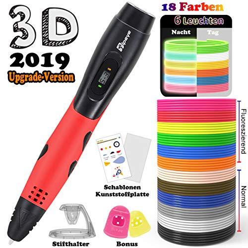 3D Stifte mit PLA 18 Farben - 3D Stifte Set für Kinder mit PLA Farben 180 Fuß und 250 Schablonen eBook, 3D Pen als kreatives Geschenk für Erwachsene, Bastler zu kritzeleien, basteln und 3D drücken