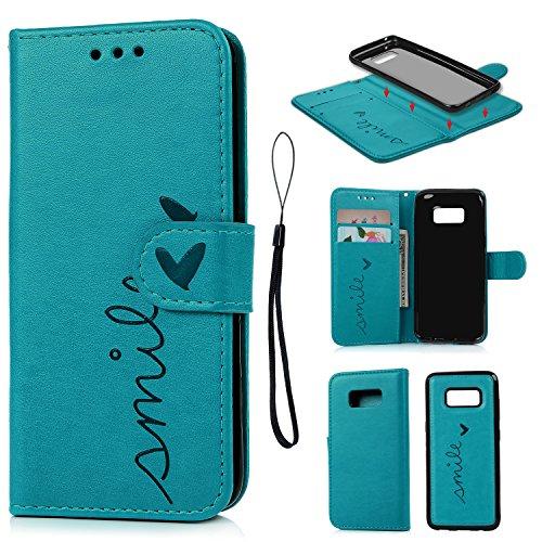 Geniric Handy Hülle für Samsung Galaxy S8 Leder Flip Wallet Cover Stand Case Card Slot Leder Tasche Karteneinschub TPU 2 in 1 Combo Karteneinschub Magnetverschluß Kratzfestes (Blau kleine Liebe)