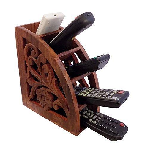 Support à la main en bois à la main, support de support à distance de TV de A / c, organisateur à distance pour le salon, support à distance de couleur marron 7.5 x 3 pouces, jour de Pâques / fête des mères / bon cadeau de vendredi