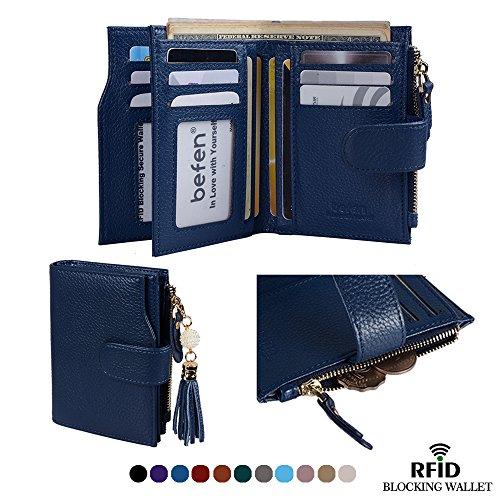 Befen Frauen RFID Blocking Wallet Full Grain Leder Damen Kleine Compact Bifold Leder Geldbörse Front Tasche Mini Wallet Kartenhalter mit 16 Card Slot - Navy blau (Full-grain-leder-tasche)