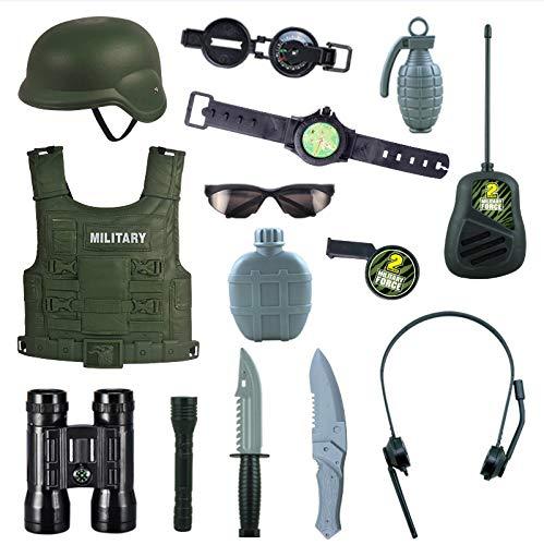 PHYNEDI Kinder Militär Rollenspiel Set, Kostüm Armee 14tlg Battle Ausrüstung Inkl. Weste, Walkie-Talkie Karnevalskostüm für Kinder Junge (Kostüme Für Armee Jungen)