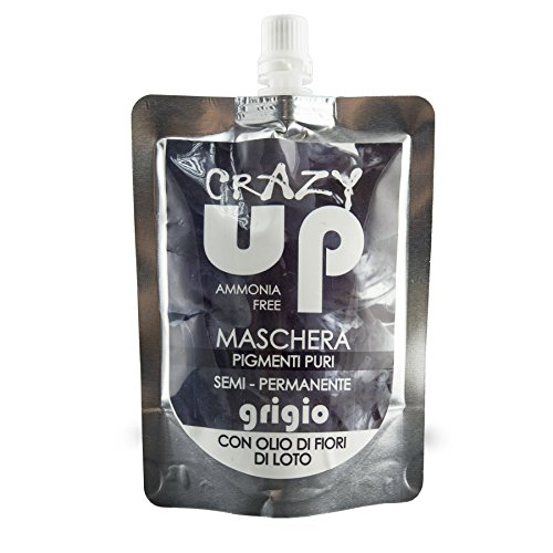 Crazy Up Maschera Colore Tinta per Colorazione Capelli Semi-Permanente, Grigio
