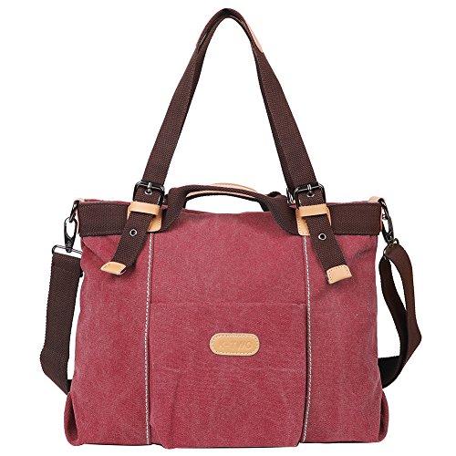 EGOGO Damen Handtasche Schultertasche Canvas Umhängetasche Shopper Henkeltasche Hobo Tasche E523-6 (Rot) (Drei Hobo Zip)