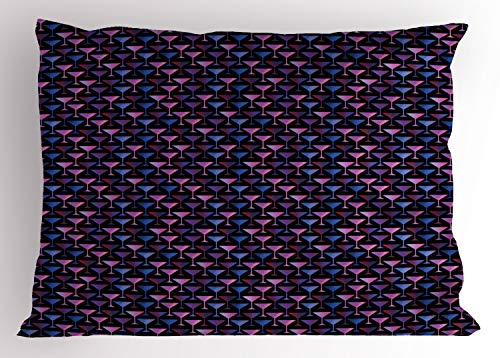 Kissenbezug, Martini-Glas-Cocktail, Dekorativer Standard King Size Gedruckter Kissenbezug, 75 x 50 cm, Quarz Pale Fuchsia Dark Night Blau ()
