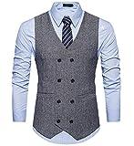 Herren stilvoll Zweireiher Anzugweste Retro Vintage Tweed Weste mit V-Ausschnitt Slim fit