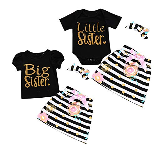 Mädchen passende Outfits Sisters Romper/Tee + Dots Rock + Stirnband-Kleidungsset (Color : Black, Size : Big 3-4T) -