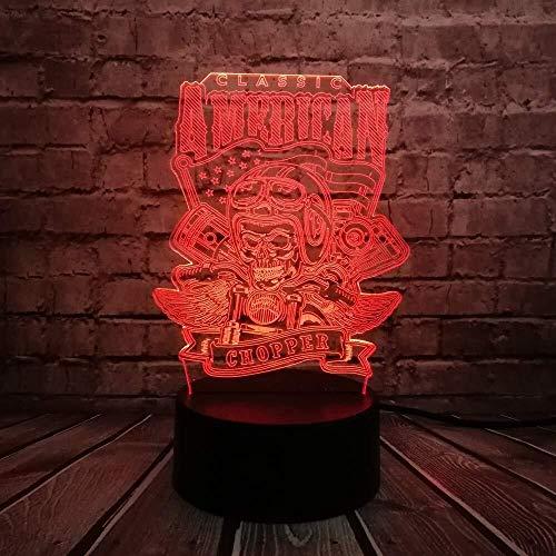 CRRQQ Neuheit American Chopper Motorrad-Schädel 3D-Lampen-Nacht USB LED-Beleuchtung Mulitcolor Weihnachten Decora luminaria Kinder-Tisch