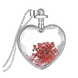 Rcool Frauen Trocknen Blume Herz Glas Flasche Glas Anhänger Legierung Halskette wünschen (Rot)