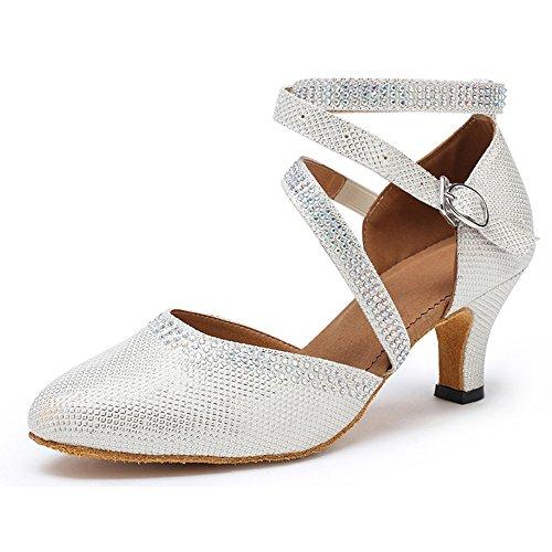 Honeystore Neuheiten Frauen Kunstleder Heels Moderne Einfarbig Tanzschuhe mit Strass Weiß 37 CN (Heels Leder High Converse)