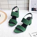 Sandalen Damen Sandalen Dick mit Tau-Strap Sandals, Grün 37