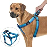 No Pull Dog Harness, PETBABA Front Clip Choke Free Reflective Safe at Night Walking Chest Vest with Martingale Handle on Top Good for Traffic Control Training - S in Blue