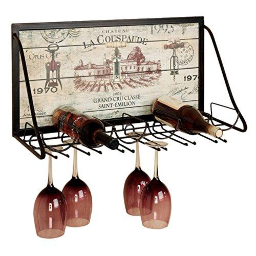 BJLJJ Eisen Weinregal Wand Montiert Weinglas Rack Stemware Glashalter für 6 Flaschen Und 12 Weingläser-65x26x40cm ++ Stemware Rack