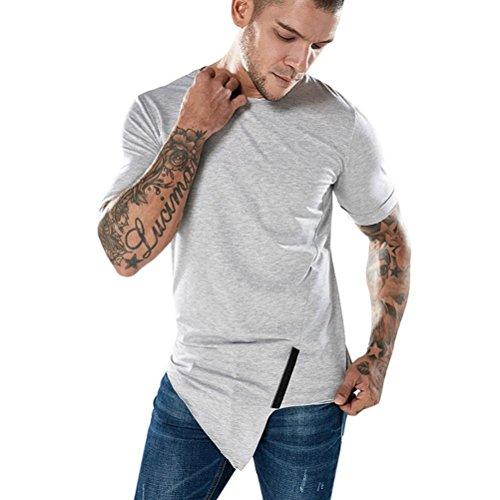 VENMO Mode Männer Casual Schlank Kurzarm T-shirt Muscle Top Bluse Herren Bluse Lange Rundkragen Slim Fit T-Shirt Pullover Sweatshirts Streetwear Classics Hemden Tops Kompressionsshirt (Gray, XL)