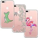 blossom01 Schutzhülle für iPhone 7 Plus, iPhone 8 Plus, ultradünn, weiches Gel TPU Silikon Case Cover mit süßem Cartoon für Apple iPhone 7 Plus/8 Plus – Krokodil & Elefant Blumen & Flamingo