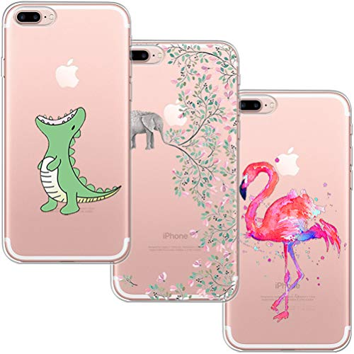 blossom01 Schutzhülle für iPhone 7 Plus, iPhone 8 Plus, ultradünn, weiches Gel TPU Silikon Case Cover mit süßem Cartoon für Apple iPhone 7 Plus/8 Plus - Krokodil & Elefant Blumen & Flamingo