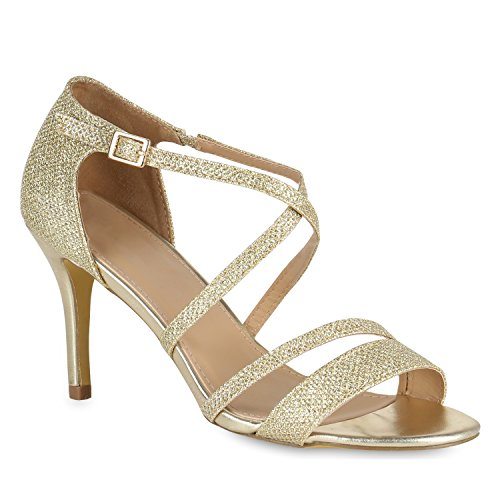 Damen Riemchensandaletten Glitzer Sandaletten Stilettos High Heels Abiball Hochzeit Braut Schuhe 110991 Gold Riemchen Bernice 36 Flandell Gold Stiletto Heel