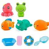 Isuper Set di giocattoli per il bagnetto Set di giochi per il bagno per acqua spray per piscina per bambini Giocattoli da bagno galleggianti (5pcs)