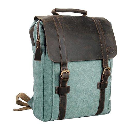 Imagen de  vintage de lona zainotelavintage p.ku.vdsl®  tipo casual y cuero bolso casual para viajes bolsa de escuela unisex  de a diario portátil bolsa adecuada para 15' cuaderno azul profundo