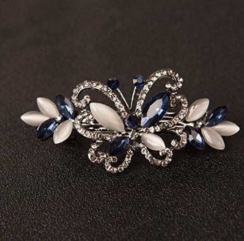 KPHY-Südkorea Kopfschmuck Frisch Lady Strass Butterfly Spring Clip Haar Einfache Und Elegante Prinzessin Schmuck Weiblichen Top ClampBlau (Prinzessin Butterfly)