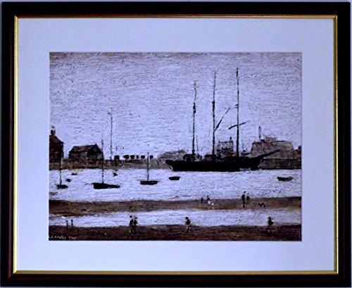 L S Lowry Spezialität Druck/Bild-Windpark Rhyl-auf einem Leinen Struktur Medium, Walnut Finish Frame With Soft White Mount And Large image, 20 x 16inch -
