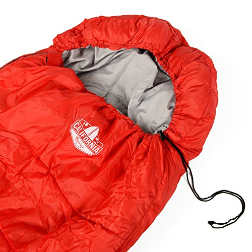 California Basics 3-4 Season 400GSM Mummy Sleeping Bag with Water-Resistant Shell, Drawstring Hood and Draft Collar for Camping, Hiking, and Outdoors, Compression Bag Included, Red/Grey