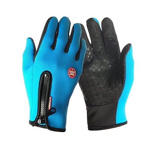 Aruny Winter Handschuhe Winddicht Thermische Für Männer Frauen Ideal für Sport Im Freien Laufen, Radfahren, Wandern, Fahren, Klettern Touchscreen Multifunktionale Handschuhe (Blau, XL)