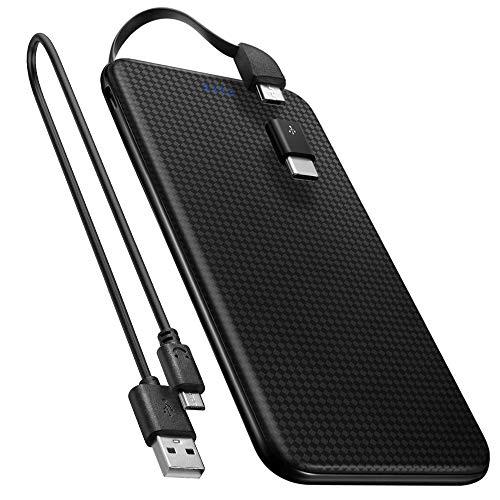 Spigen 5,000mAh Powerbank USB c [Integriertes Micro-USB Kabel] [USB Typ C Adapter enthalten] Ultra Slim Light Externer Akku für Galaxy, Pixel, Huawei, Sony
