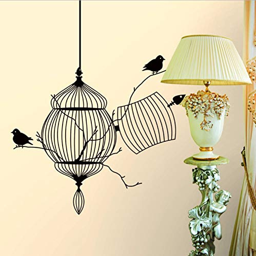Vintage Style Home Decor (baiyinlongshop Wandaufkleber Vintage Style Home Decor Geschnitzte Schwarz Vogelkäfig Und AST Vogel Wohnzimmer Schlafzimmer Sofa Hintergrund S)