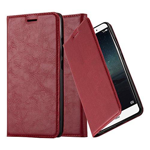 Cadorabo Hülle für Huawei Mate S - Hülle in Apfel ROT – Handyhülle mit Magnetverschluss, Standfunktion und Kartenfach - Case Cover Schutzhülle Etui Tasche Book Klapp Style