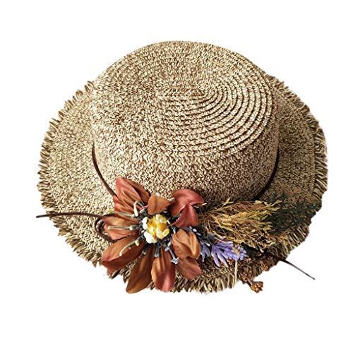 Xmansky Sommer Sonnenhut,Damen beiläufiger breiter Gefälschte Blume Rand Diskette Faltbarer Strohblumen Strandhut Outdoorhut, für den am Strand oder im ()