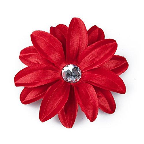 TOOGOO(R) Barrette Pince a Cheveux avec Fleur de Lis et Strass pour Bebe Filles Femmes - Rouge