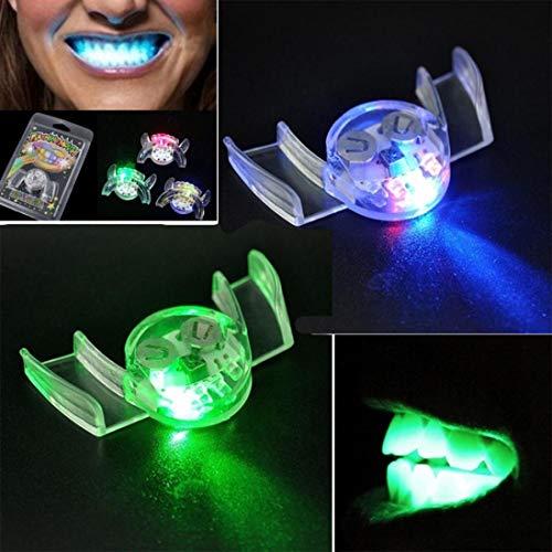 FORH Vampirzähne 2Pcs Blinkende LED Leuchten Mund Klammer Stück Glow Zähne für Halloween Party Ungiftiges Weiches Silikon Blinkende Zähne (2PCZufällig)