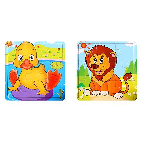 NaiCasy Holz Puzzles Spielzeug 9Pcs Holz Puzzle Board Kinder Bunte pädagogische Stichsägen Lernspielzeug für Kleinkinder und Kinder im Vorschulalter über 3 Jahre Ente + Löwe Puzzles Spielzeug 2Pack (Lernspielzeug Vorschulalter Im Kinder Für)