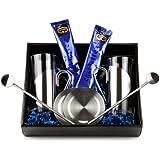 Geschenk Set Chai Latte mit je 2 Gläsern, Untersetzern und Trinkhalmlöffeln