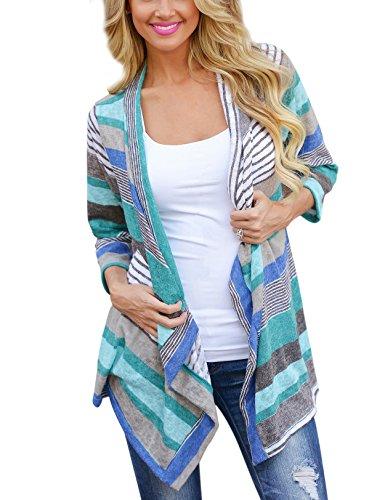 Lantch Damen Strickjacke Langarmshirt Irregular Colorful Striped Baumwolle Kimono Cardigan Oberteil Mantel Cover Up Outwear (X-Large, Blau)