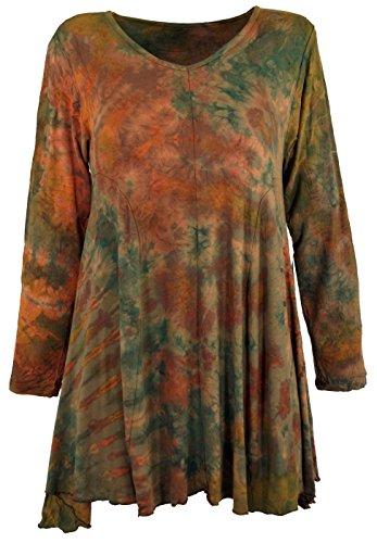 Guru-Shop Batik Minikleid, Langarm Boho Tunika, Damen, Olive, Synthetisch, Size:38, Kurze Kleider Alternative Bekleidung (Olive Grünes Kleid Hose)