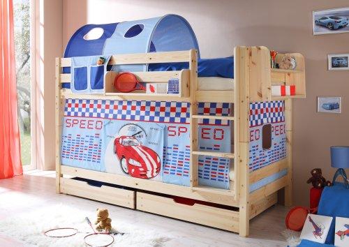 Etagenbett Doppelbett Marcel Kiefer massiv Natur mit Farbauswahl, Vorhangstoff:Speed (Etagenbett Massivholz)