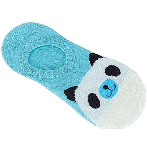 SOQNVLN 1 para Frauen Nette Rutschfeste Boot Loafer Baumwolle Unsichtbare Low Cut No Show Socken Einzigartige Socken Blue + Panda
