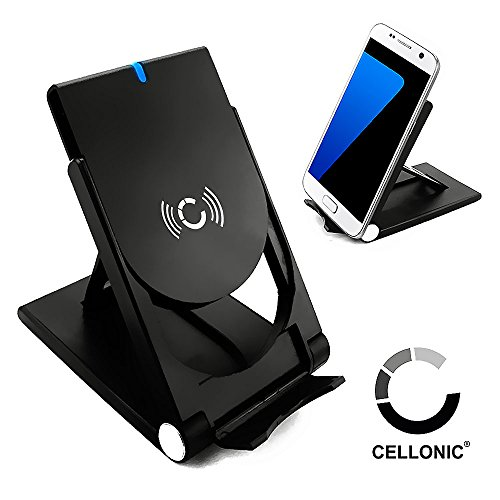 Cellonic® Wireless Ladestation für Qi-Geräte (10W / Fast Charge - iPhone X, 8, 8 Plus / Samsung Galaxy S7, S6, Edge, Note 5 / Nokia, Microsoft Lumia 950, 930, 830, 735 ...) Ladegerät Ladekabel Netzteil Ladepad Induktionslader Smartphone Handy Standfunktion