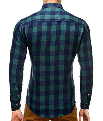 BetterStylz FairlawnBZ Herren Slim Fit Hemd Langarm Hemden Holzfällerhemd Karohemd Kontrast Akzente 2 Farben (S-XXL) Grün Blau