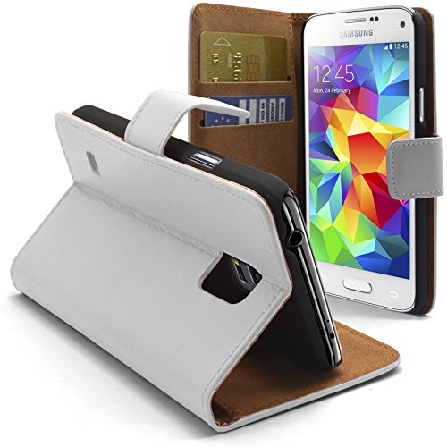 Caseink - Coque Housse Etui Smart Cover Samsung Galaxy S5 Mini (G800) Cuir Eco Executive Blanche
